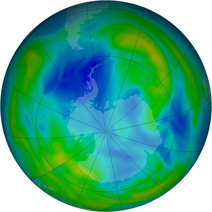 Antarctic ozone map for 02 August 2006