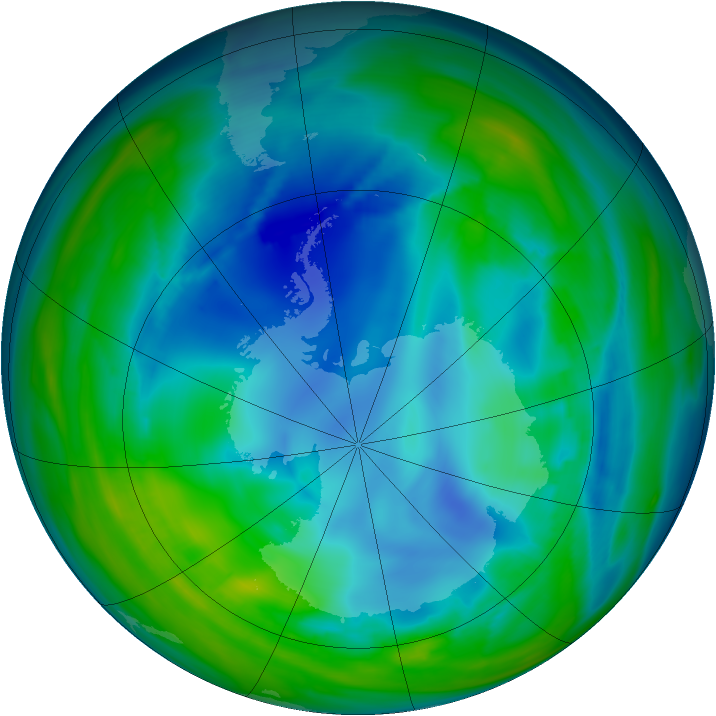 Antarctic ozone map for 03 August 2006