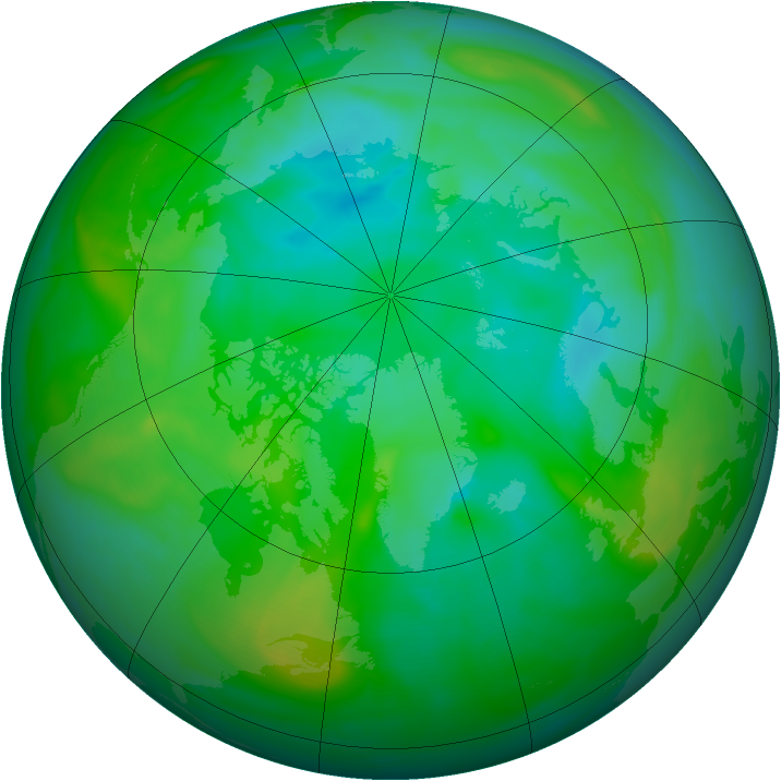Arctic ozone map for 12 August 2006