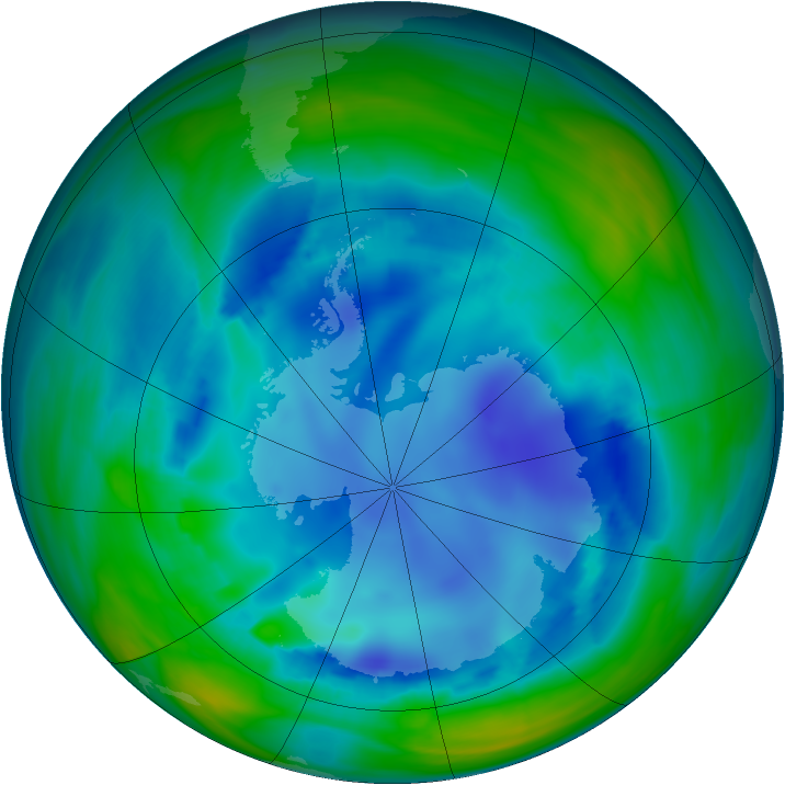 Antarctic ozone map for 12 August 2006