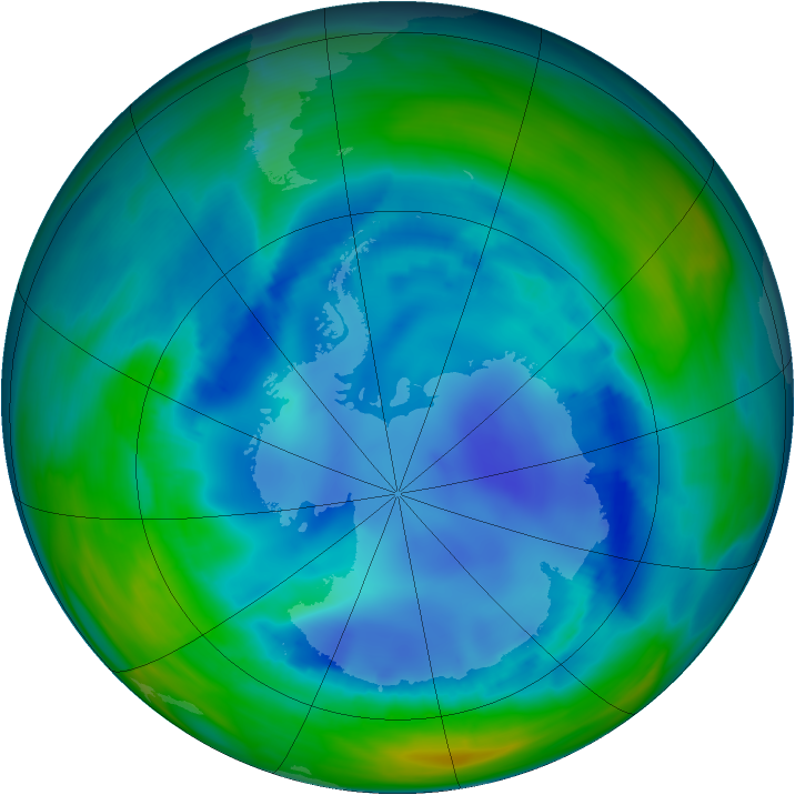 Antarctic ozone map for 13 August 2006