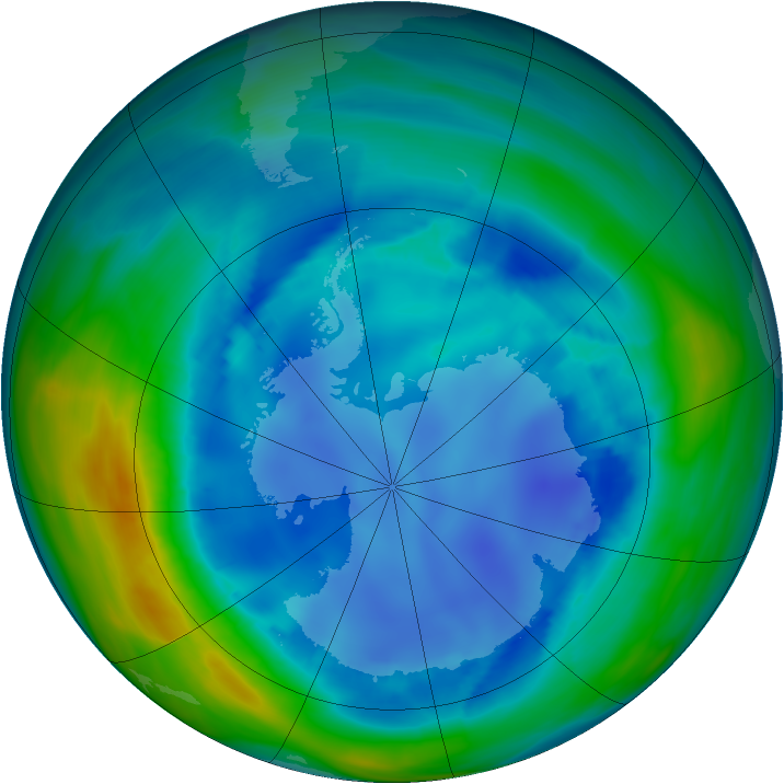 Antarctic ozone map for 16 August 2006