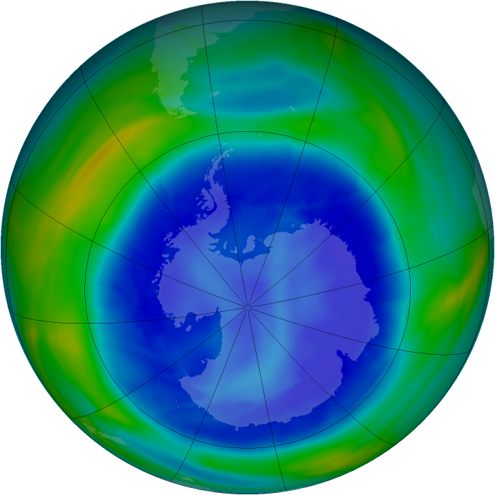 Antarctic ozone map for 30 August 2006