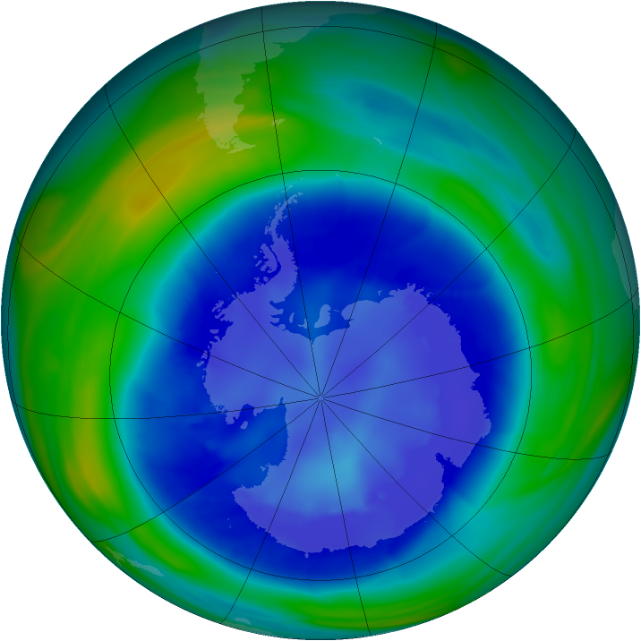 Antarctic ozone map for 31 August 2006