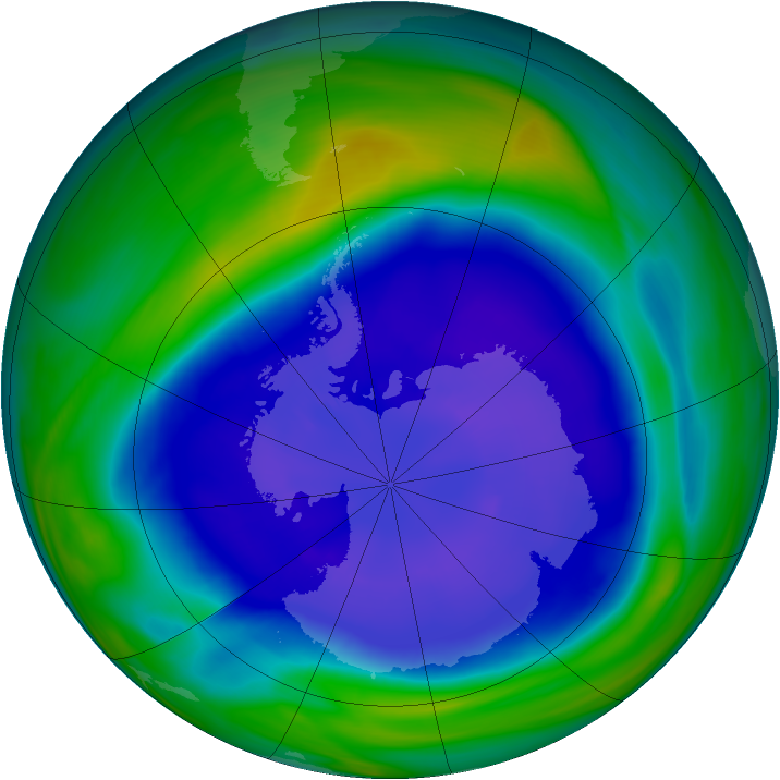 Antarctic ozone map for 13 September 2006