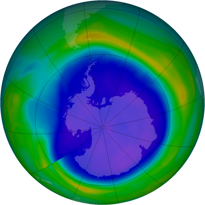 Antarctic ozone map for 15 September 2006