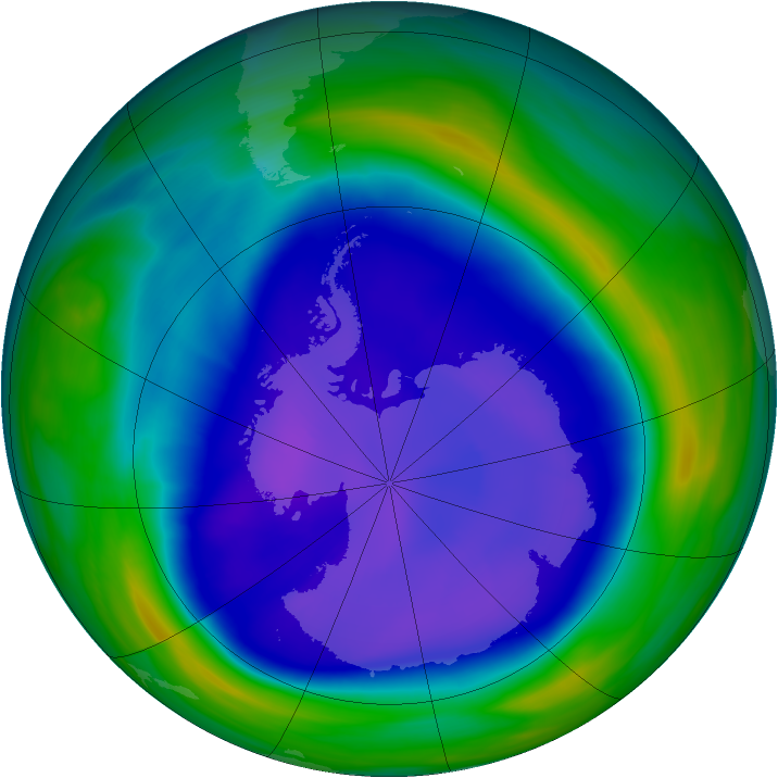 Antarctic ozone map for 16 September 2006