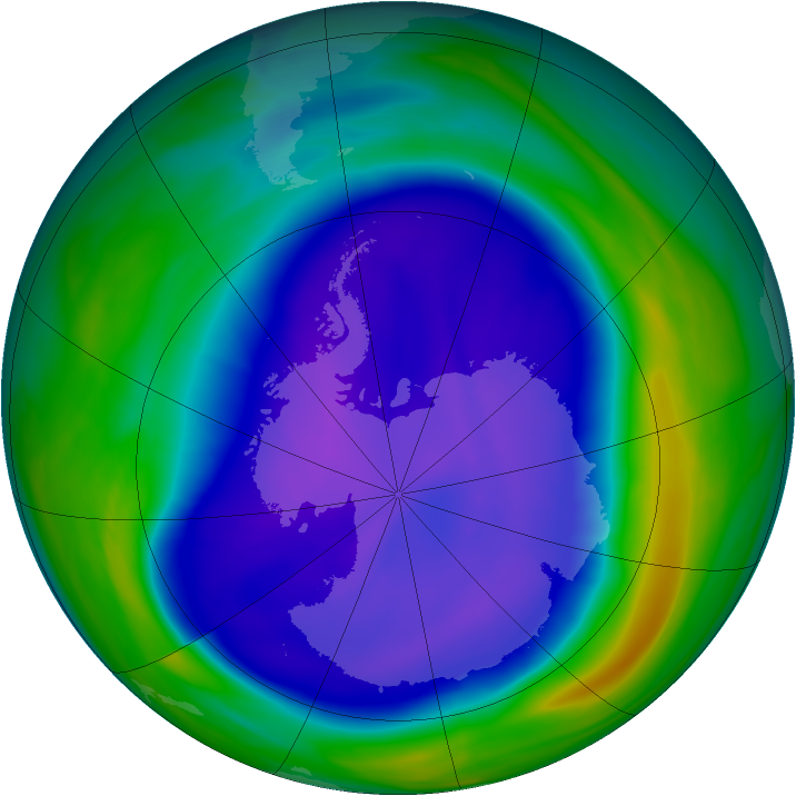 Antarctic ozone map for 18 September 2006