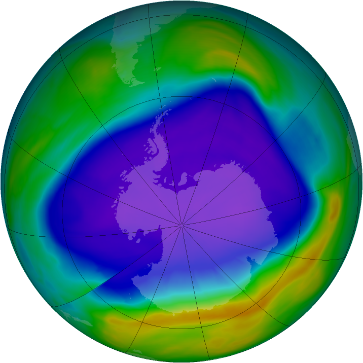 Antarctic ozone map for 25 September 2006