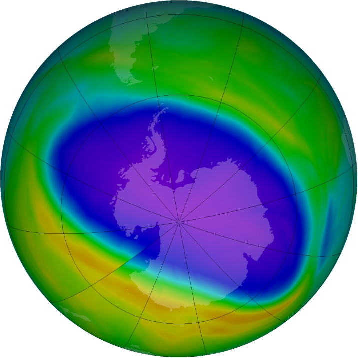 Antarctic ozone map for 01 October 2006