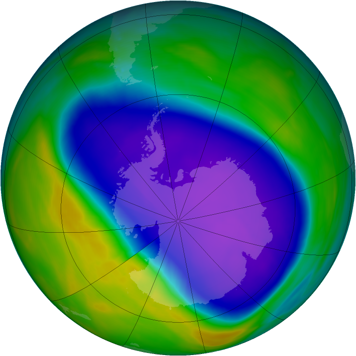 Antarctic ozone map for 03 October 2006
