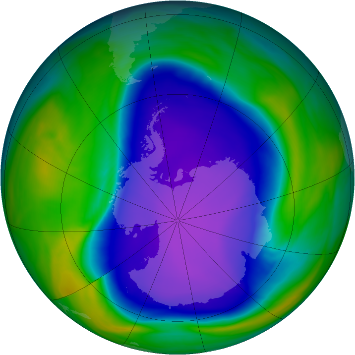 Antarctic ozone map for 09 October 2006