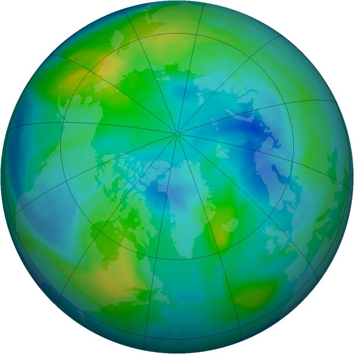 Arctic ozone map for 15 October 2006