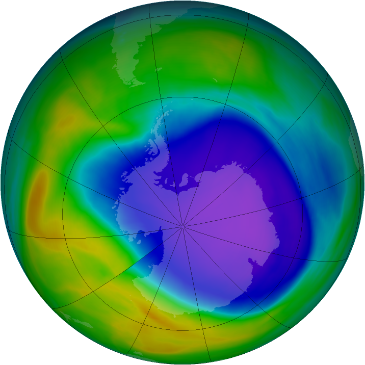 Antarctic ozone map for 18 October 2006