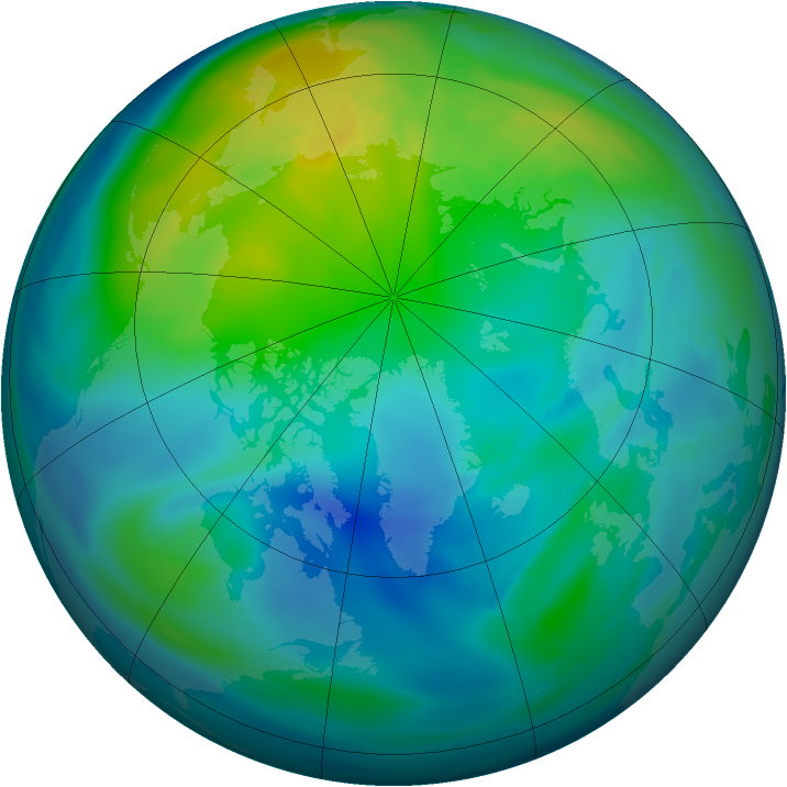 Arctic ozone map for 22 October 2006