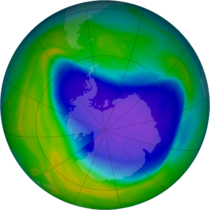 Antarctic ozone map for 29 October 2006