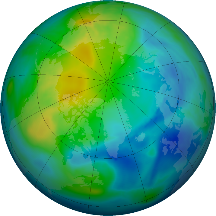 Arctic ozone map for 30 October 2006