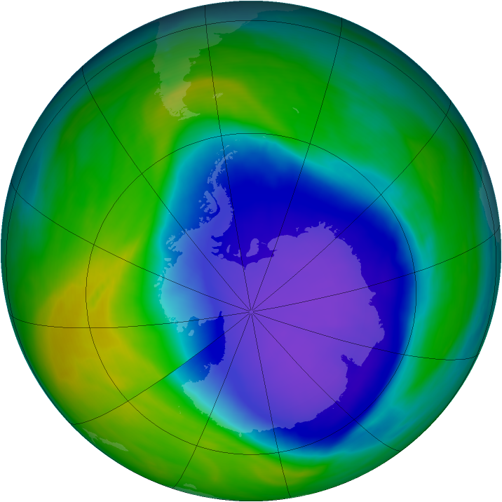 Antarctic ozone map for 01 November 2006