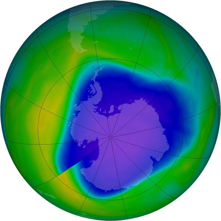 Antarctic ozone map for 05 November 2006