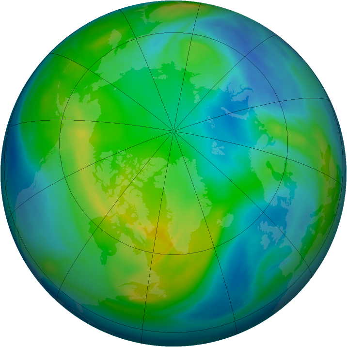Arctic ozone map for 06 November 2006