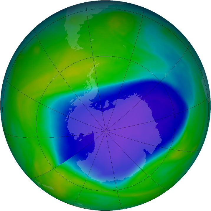 Antarctic ozone map for 08 November 2006