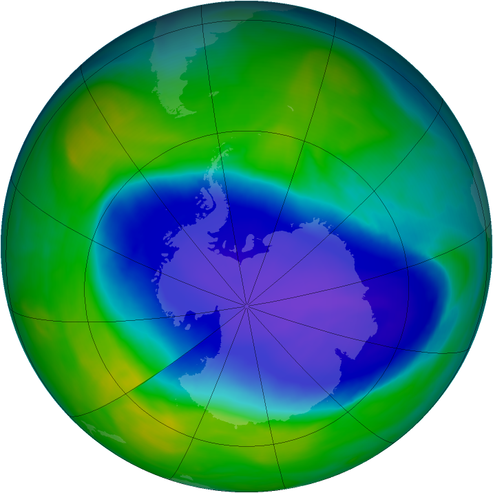 Antarctic ozone map for 11 November 2006