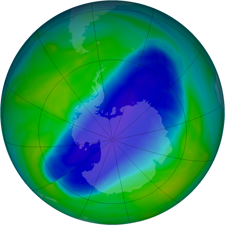 Antarctic ozone map for 19 November 2006