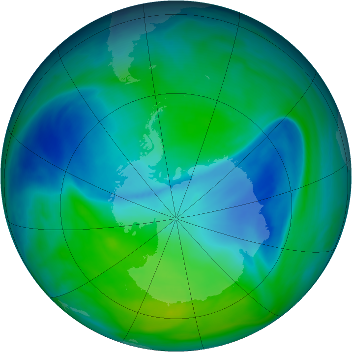 Antarctic ozone map for 06 December 2006
