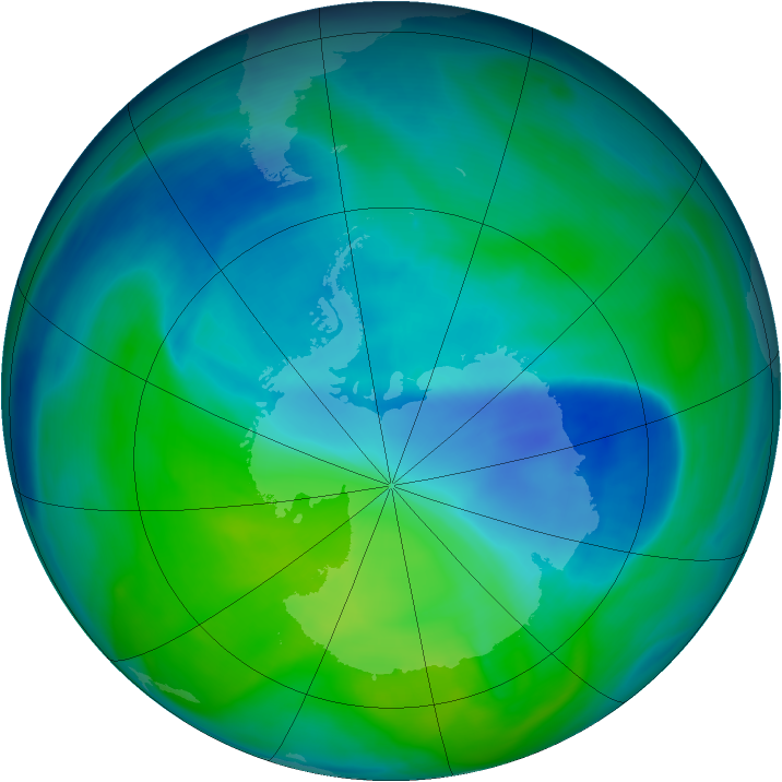 Antarctic ozone map for 08 December 2006