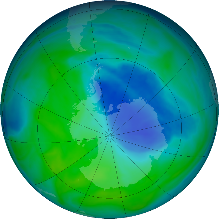 Antarctic ozone map for 12 December 2006