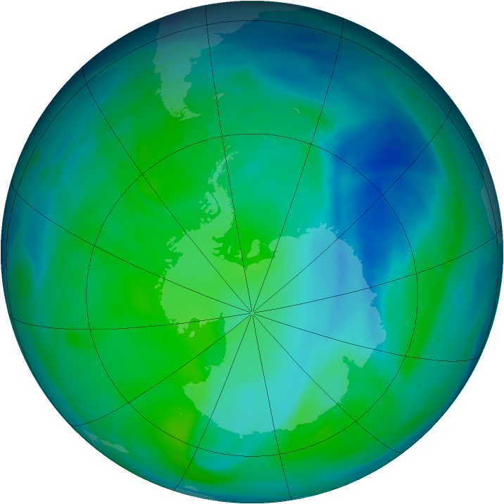 Antarctic ozone map for 18 December 2006