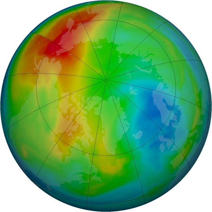 Arctic ozone map for 20 December 2006