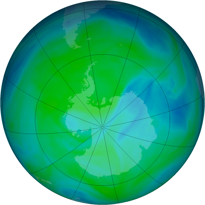 Antarctic ozone map for 21 December 2006