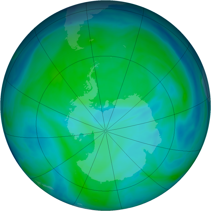 Antarctic ozone map for 23 December 2006