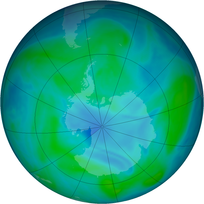 Antarctic ozone map for 30 December 2006
