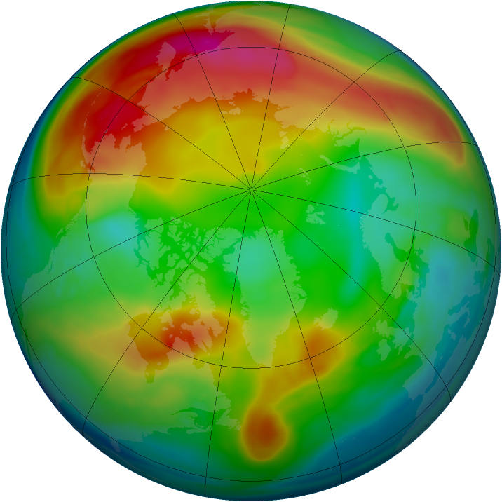 Arctic ozone map for 01 January 2007