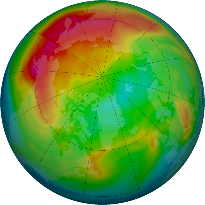 Arctic ozone map for 03 January 2007