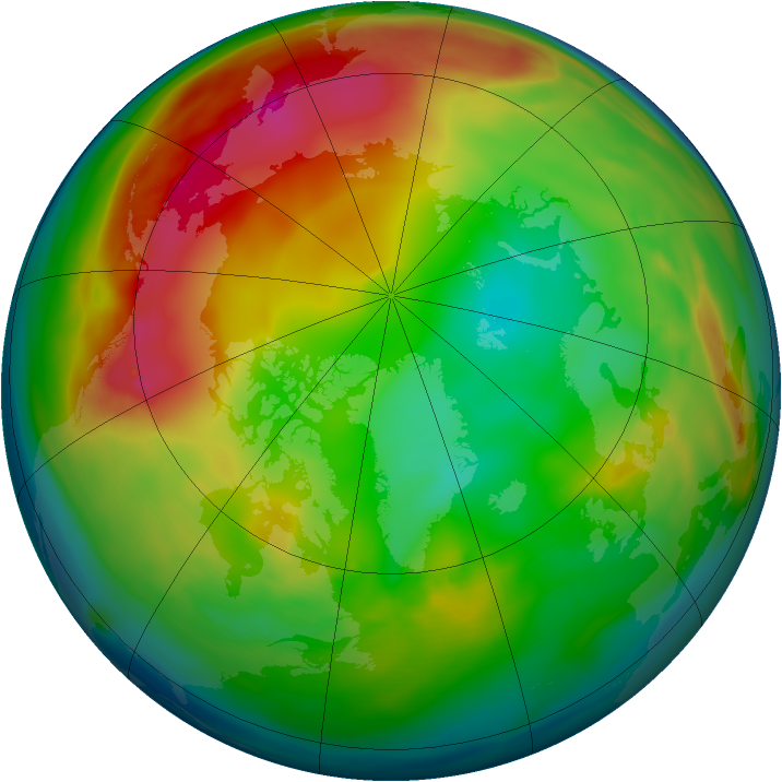 Arctic ozone map for 04 January 2007
