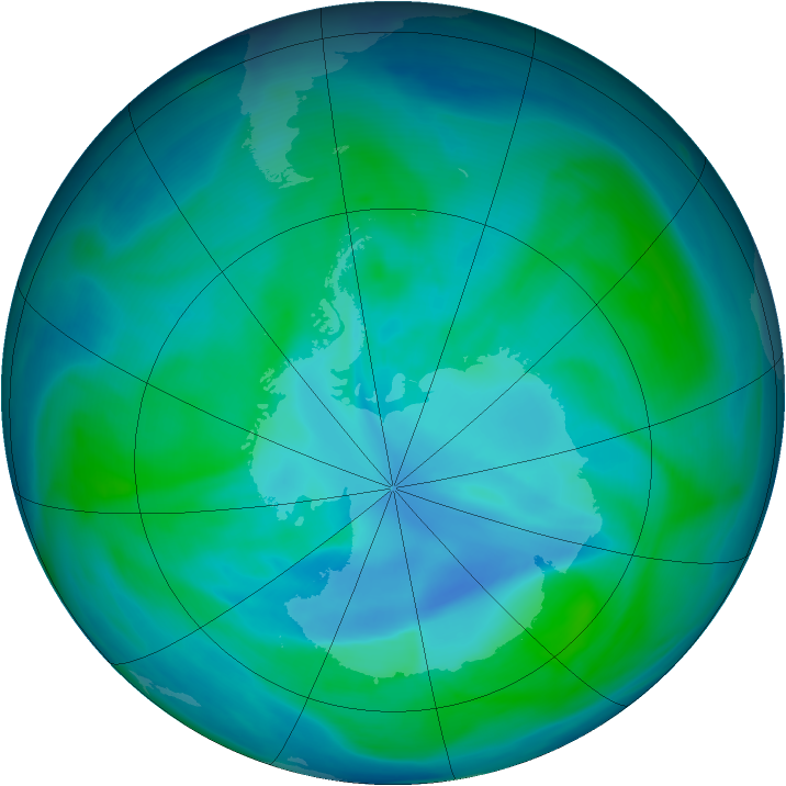 Antarctic ozone map for 04 January 2007