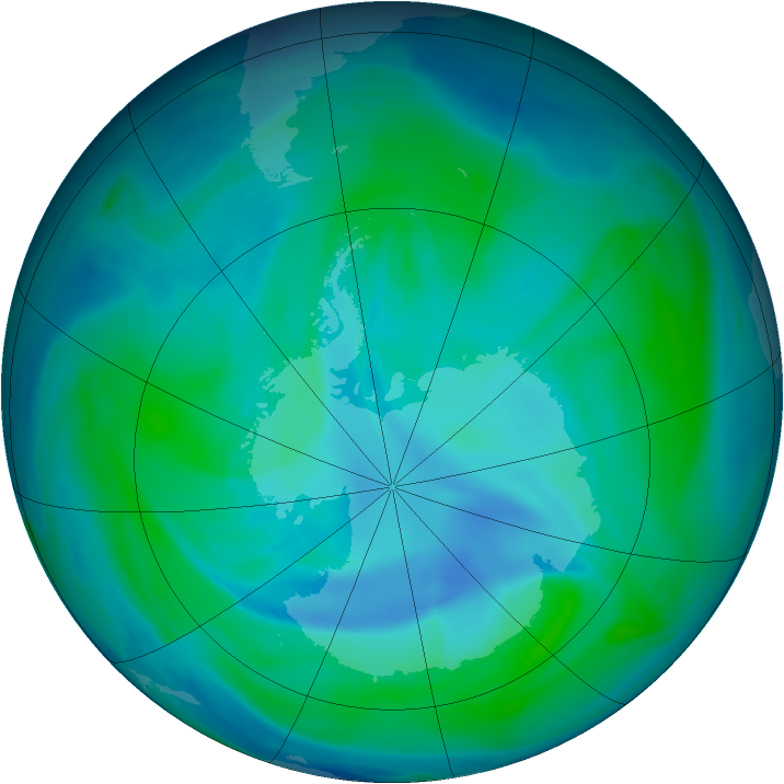 Antarctic ozone map for 05 January 2007