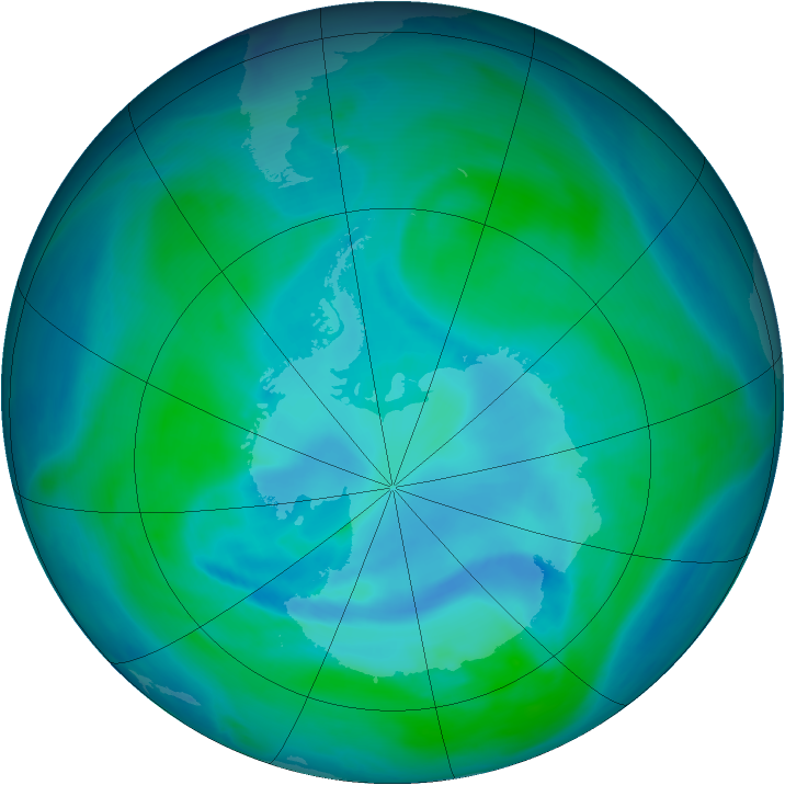 Antarctic ozone map for 08 January 2007