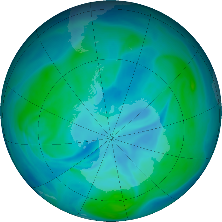 Antarctic ozone map for 11 January 2007