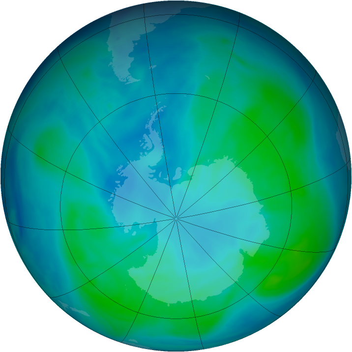 Antarctic ozone map for 25 January 2007