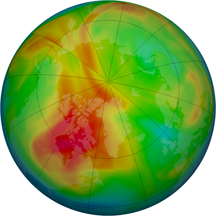 Arctic ozone map for 29 January 2007