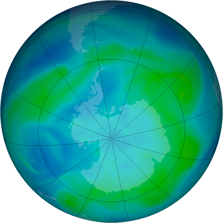 Antarctic ozone map for 31 January 2007