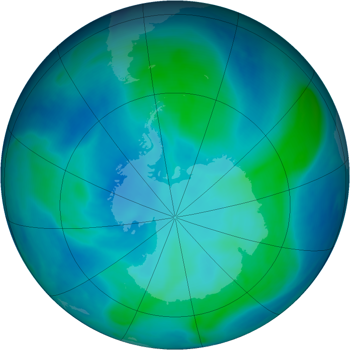 Antarctic ozone map for 08 February 2007