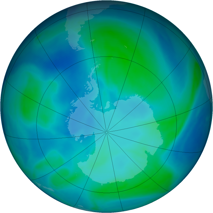 Antarctic ozone map for 09 February 2007