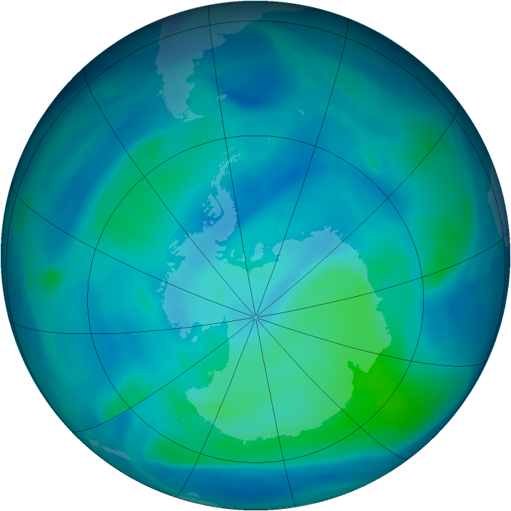 Antarctic ozone map for 25 February 2007