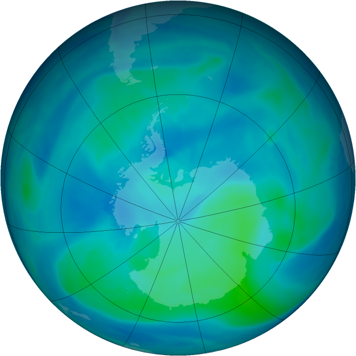 Antarctic ozone map for 26 February 2007