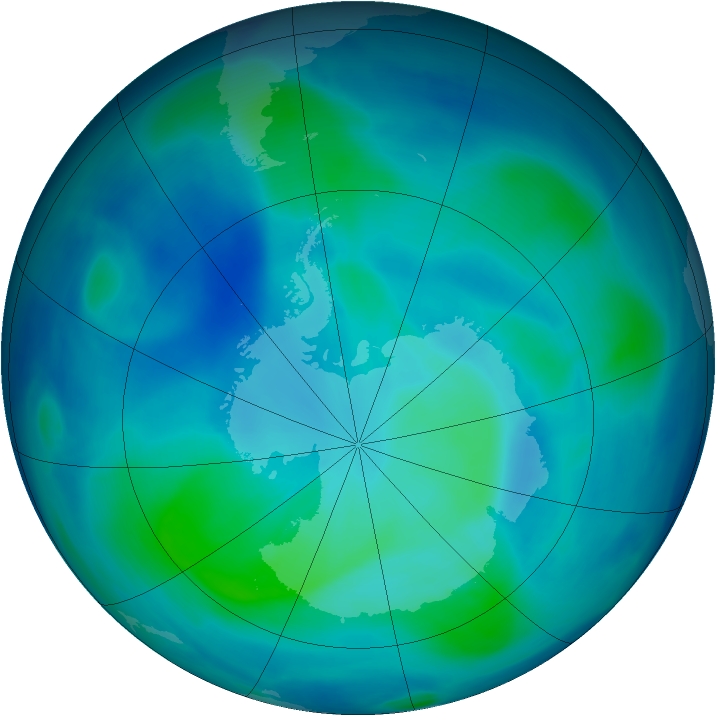 Antarctic ozone map for 01 March 2007